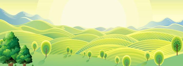 清新綠色田野背景海報banner 清新 綠色 田野 陽光 遠山 樹 山坡 悠閒 溫暖 背景, 清新綠色田野背景海報banner, 清新, 綠色 背景圖片