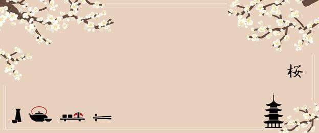 清新日式和風唯美櫻花日本海報 清新 日式 和風 唯美 櫻花 日本 莫蘭迪色 和風元素 海報, 清新日式和風唯美櫻花日本海報, 清新, 日式 背景圖庫