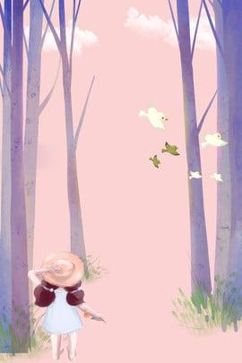 ताजा गर्मियों के जंगल में छोटी लड़की ताज़ा गर्मी वन छोटी लड़की बड़ा पेड़ घास छोटा , पेड़, घास, छोटा पृष्ठभूमि छवि