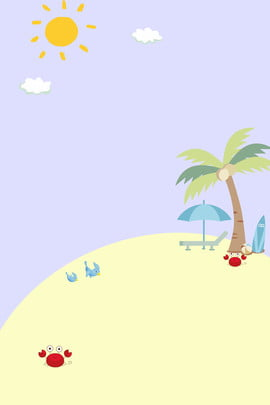 fresh summer seaside coconut tree , Crab, Sun, Beach Background image
