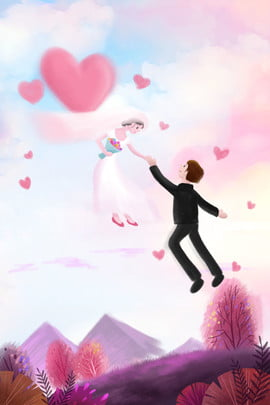 Wedding Romantic Heart 背景画像