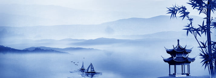 Gazebo Bamboo Fishing Boat Far Mountain, Ethereal, Gull Bird, Water, Background image