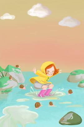 cô gái nghịch ngợm đầu xuân chơi nước minh họa poster cô gái du lịch Đầu , Xuân, Mưa, Quần Ảnh nền