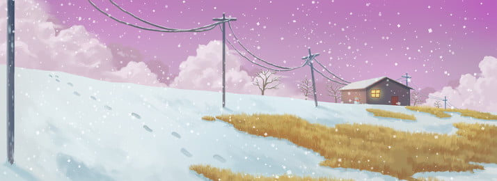 great cold winter dream snowing, Hand Painted, Cartoon, Banner Background image