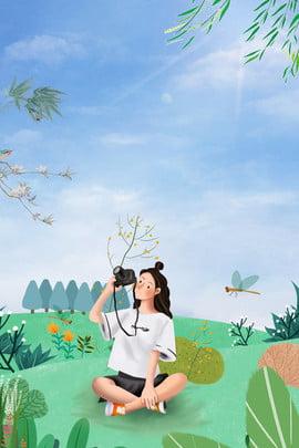 green outing minh họa gió nền đơn giản màu xanh tươi phim hoạt , Du, Hình, Vẽ Ảnh nền
