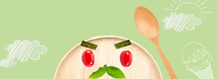 綠色清新木盤簡約banner背景 綠色 清新 木盤 簡約 banner 背景 創意食物 創意美食 美食 沙拉, 綠色, 清新, 木盤 背景圖片