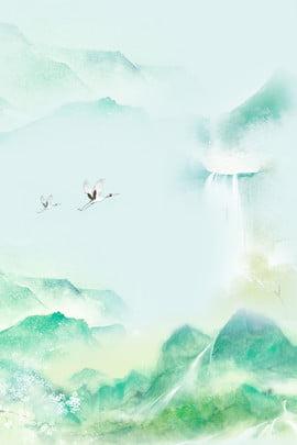 グリーンインククレーン中国風の広告の背景 グリーン インク クレーン 中華風 広告宣伝 バックグラウンド クレーンの背景 インクスタイルの背景 , グリーン, インク, クレーン 背景画像