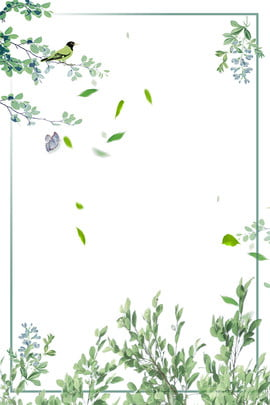 h5 summer fresh green leaf , Hand Painted, Stationery, Ad Background image