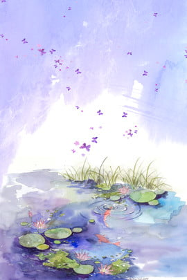 h5 summer fresh purple , Lotus Pond, Ad, Creative Synthesis Background image