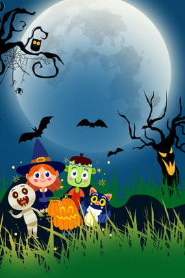 halloween cartoon character halloween moonlight halloween poster , Halloween Witch, Pumpkin Man, Children Background image