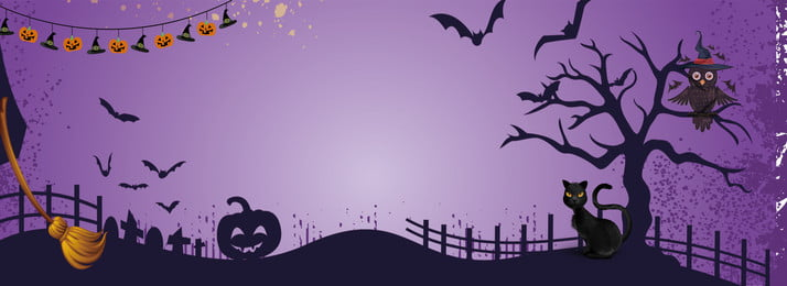 halloween cartoon purple black cat, Pumpkin Head, Witch Broom, Witch Hat Background image