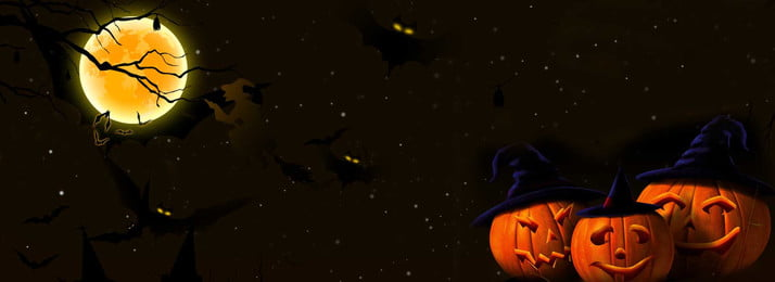 Хэллоуин баннер фон Хэллоуин Фестиваль призраков луна летучая мышь Хэллоуин фон Тыквенный мышь Фоновое изображение