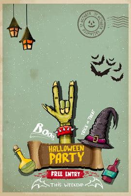 halloween american retro monster hand witch hat poster halloween halloween vui vẻ mỹ retro tay , Vui, Thủy, Thuốc Ảnh nền