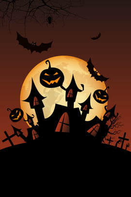 halloween night pumpkin head cartoon , Halloween Poster, Castle, Bat Background image