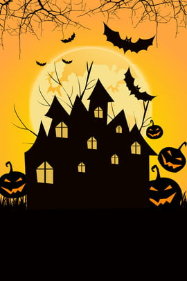 halloween night pumpkin head cartoon , Halloween Poster, Yellow Background, Castle Background image