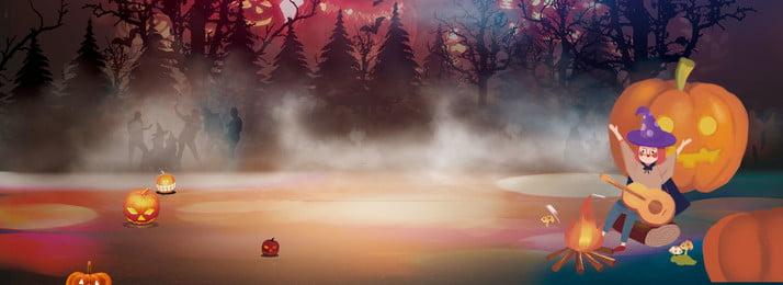 Хэллоуин мультфильма ведьма милый фон Хэллоуин Тыквенный свет Западная культура Насыщенный рисованной ночь Таинственный Фоновое изображение
