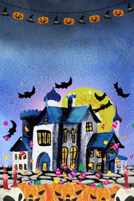halloween watercolor pumpkin houses , Bat, Watercolor Background, Carnival Background image
