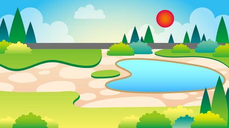Hand Painted Cartoon Amusement Park Park, Green Plant, Lawn, Grass, Background image