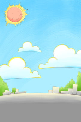 hand painted cartoon city building , House, Houses, Sun Background image