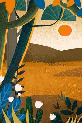 Vẽ tay mùa thu áp nền Vẽ tay Phim hoạt Hình Thu Hoạch Hình Nền