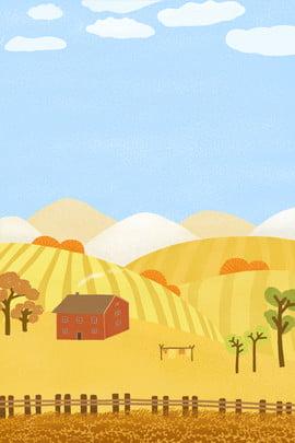 Mão desenhada cartoon vida no fundo do país Mão desenhada Caricatura Country Vida De lazer Lazer House Arroz Céu Desenhada Caricatura Country Imagem Do Plano De Fundo