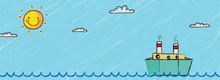 手描き漫画クレヨンスタイル海ボートバナー 手描き 漫画 波 海 太陽 クラウド ボート 船 クレヨン スティックフィギュア ブルー 単純な 新鮮な 可愛い 可愛い 手描き 漫画 波 背景画像