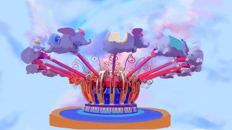 Hand Painted Creative Amusement Park Facilities Amusement Park, Design, Childlike, Poster, Background image