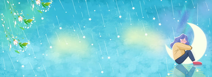 Hand Painted Dream Starry Sky Girl, Moon, Blue, Fresh, Background image