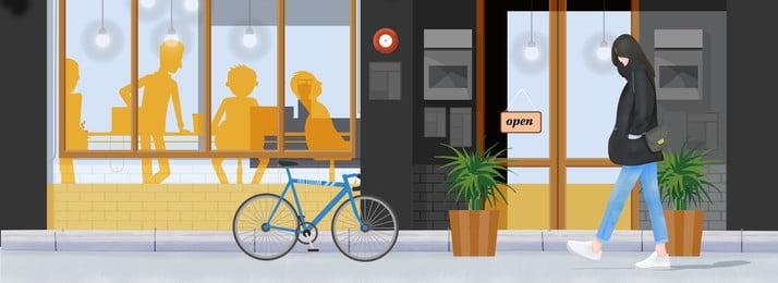 手描きの女の子カフェシティライフ 手描き イラストレーターのスタイル 市 女性 カフェ 通り 草 木々 自転車 国民の日 旅行する 旅行のポスター 手描きの女の子カフェシティライフ 手描き イラストレーターのスタイル 背景画像