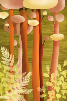 hand painted jungle trees grass , Grass, Plant, Poster Background image