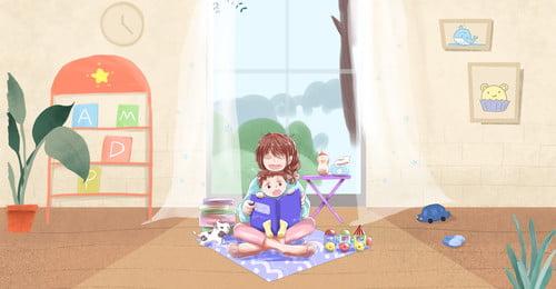 Vẽ tay mầm non mẹ và bé minh họa Vẽ tay Mẹ và Trẻ Mẹ Thương Hình Nền