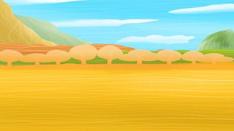 latar belakang poster hidup negara yang dilukis tangan tangan ditarik negara kehidupan kuning emas nasi medan, Putih, Poster, Latar imej latar belakang