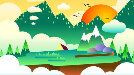 手繪鄉村風景海報 手繪 鄉村 生活 山峰 白雲 太陽 植物 小樹 風景 海報 背景, 手繪, 鄉村, 生活 背景圖片
