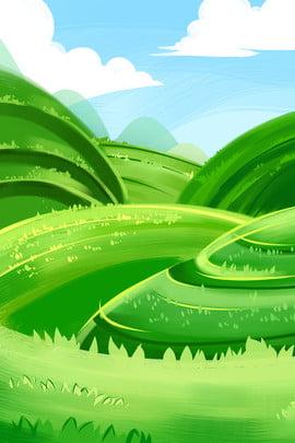 手繪綠色草原海報背景 手繪 簡約 綠色 草原 草坪 草地 海報 背景 , 手繪, 簡約, 綠色 背景圖片