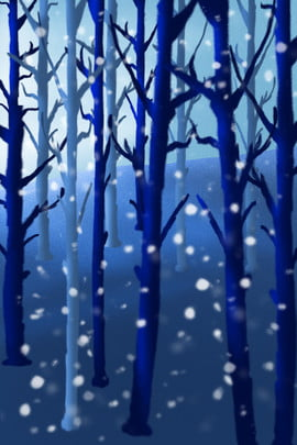 hand painted simple jungle trees , Forest, Branch, Snowing Background image