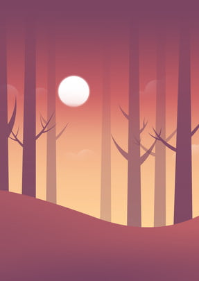 hand painted simple jungle trees , Forest, Branch, Moon Background image