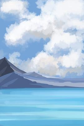 hand painted simple mountain peak mountain range , Hillside, River Water, Blue Sky Background image