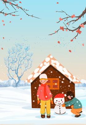 Snow vẽ tay hoạt hình lễ hội truyền thống người tuyết poster áp phích sáng tạo Tuyết rơi dày Hai Hình Vẽ Tuyết Hình Nền
