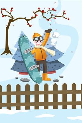 Tháng 11 Xin chào Ski Boy Hand Drawn Cartoon Poster Board Background Xin chào tháng Họa Cậu Tạo Hình Nền