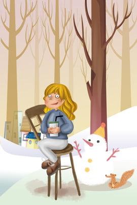 tháng 11 hello girl snowman squirrel in snow hand drawn creative poster xin chào tháng , Ngoại, ô, Trong Ảnh nền