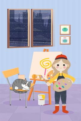 Tháng 11 Xin chào cô gái vẽ poster vẽ tay sáng tạo trong studio Xin chào tháng Cảnh Gái Xưởng Hình Nền