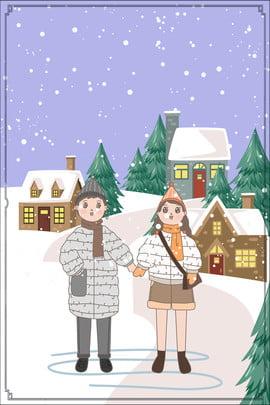 tháng 11 xin chào hello snowy cartoon house village poster sáng tạo xin chào tháng , Tạo, Áp, Hình Ảnh nền
