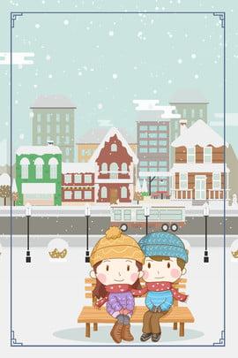 Tháng 11 Xin chào Hello Hand Drawn Cartoon Snow Day Cặp đôi cảnh đường phố Poster Xin chào tháng Tháng 11 Xin Hình Nền