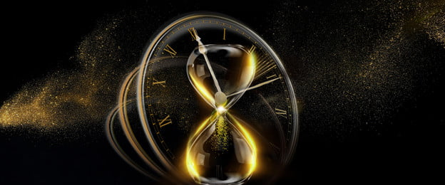 high end atmosphere black gold countdown, Hourglass, Time, Poster Background image