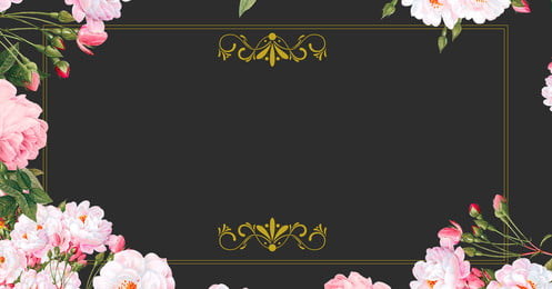 high end light luxury beautiful exquisite, Hand Painted, Flowers, Black Gold Background image