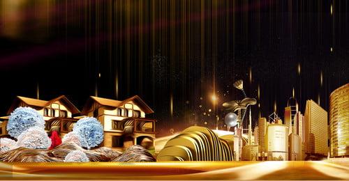 ハイエンドの大気不動産の背景 ハイエンドの不動産の背景 シービューヴィラ 高級高級住宅 レイクビューフラワーベッド バンガロー 不動産のポスター 高層ビル 不動産 ヴィラ, ハイエンドの不動産の背景, シービューヴィラ, 高級高級住宅 背景画像