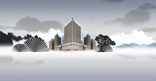 ハイエンドの雰囲気のヴィラの不動産の背景 ハイエンドの不動産の背景 シービューヴィラ 高級高級住宅 レイクビューフラワーベッド バンガロー 不動産のポスター 高層ビル 不動産 ヴィラ, ハイエンドの雰囲気のヴィラの不動産の背景, ハイエンドの不動産の背景, シービューヴィラ 背景画像