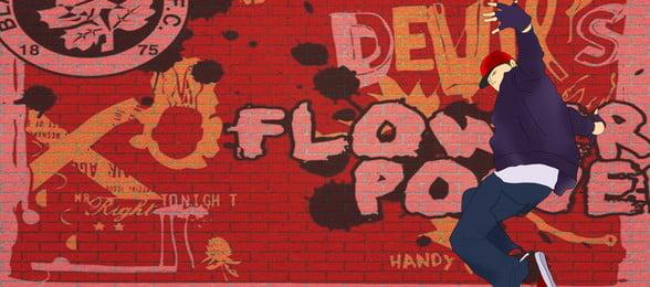 hip hop nền đỏ graffiti, Tường, Biểu Ngữ, Hip Hop Ảnh nền