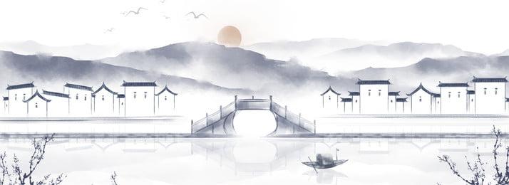 中国風の恵州建築インクの風景 恵州建築 インクの風景 中華風 風景画 インク塗装 景観 山川 手描き イラスト 日の出 インク, 中国風の恵州建築インクの風景, 恵州建築, インクの風景 背景画像