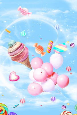 ice cream candy food creative , Lovely, Creative Synthesis, Sky Background image